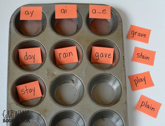 Do a word sort in a muffin tin. It's a super easy way to work on spelling patterns.