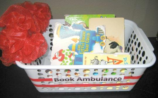 basket full of books in need of repair