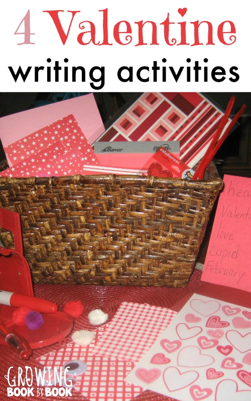 Valentine writing activities to get the kids practicing writing for an authentic purpose from growingbookbybook.com