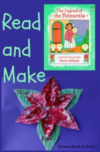 The Legend of the Poinsettia- read and make a pointillism gift tag from growingbookbybook.com