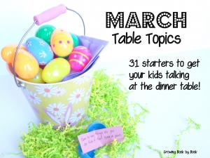 table topics from Growing Book by Book http://growingbookbybook.com