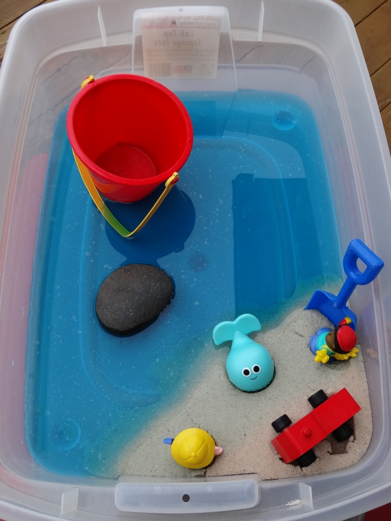 sensory bin, The Snail and the Whale book and activity