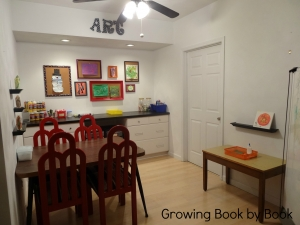 Finished Art Studio from Growing Book by Book- Fun basement space to let kids create art