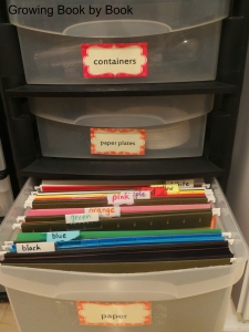Paper drawer divided by color from Growing Book by Book