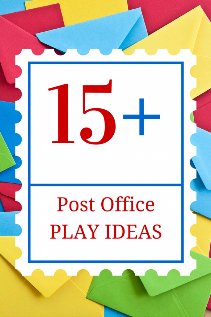 Over 15 post office play ideas to encourage literacy play with young children. Includes books for kids about the post office and mail carriers.
