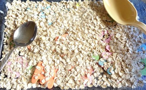 oatmeal alphabet sensory dig