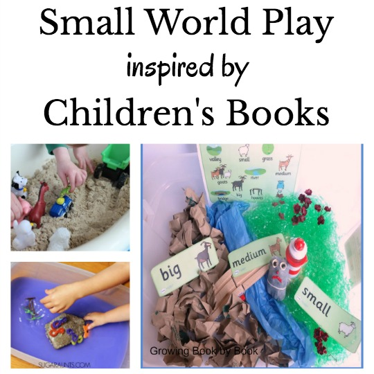 sensory bins and small world play ideas related to books for kids