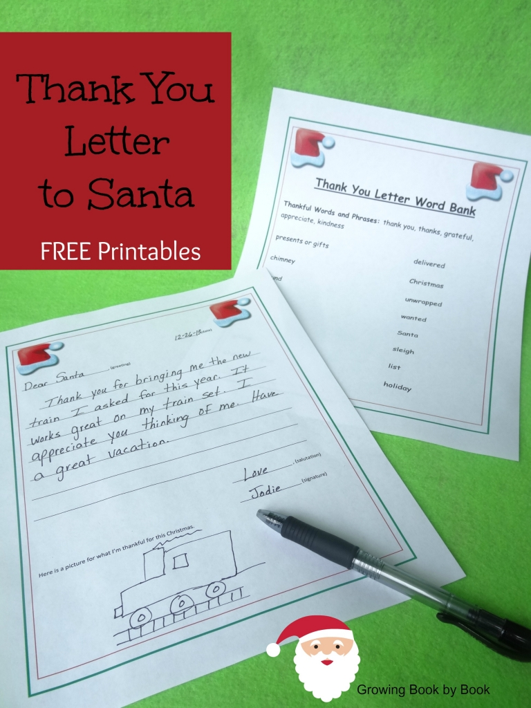Writing a thank you letter to Santa (free printables) from growingbookbybook.com