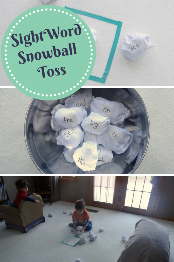 sight word activities: a fun indoor snowball toss game from growingbookbybook.com