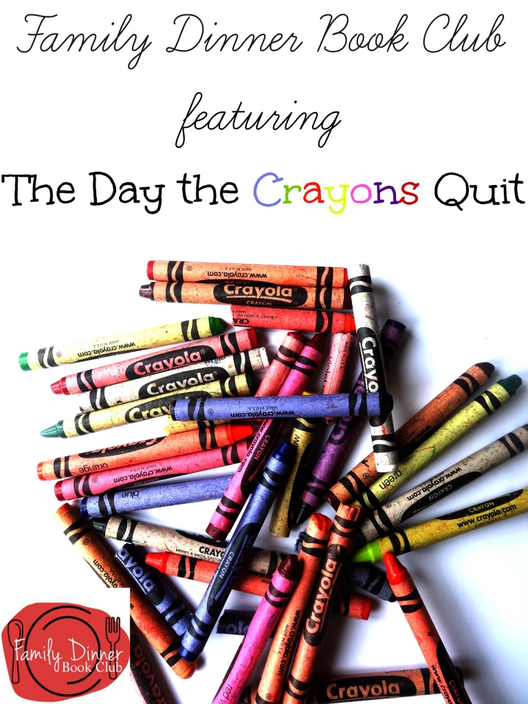 Family Dinner Book Club featuring The Day the Crayons Quit.  Complete with menu, decorating ideas and conversation starters!