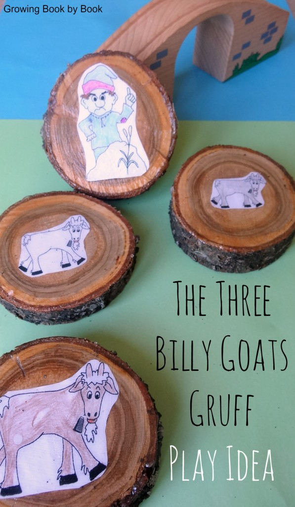 Playing pieces for The Three Billy Goats Gruff story from https://growingbookbybook.com