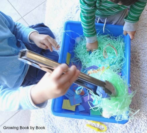 "building fine motor skills while ""fishing out"" alphabet letters"