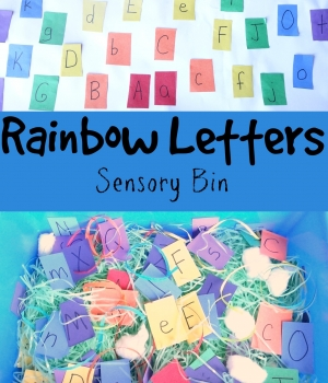 ABC Game: Rainbow Letters Sensory Bin