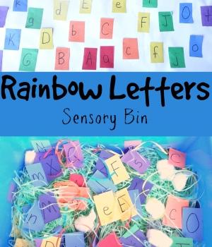 ABC Game: Rainbow Letters Sensory Bin