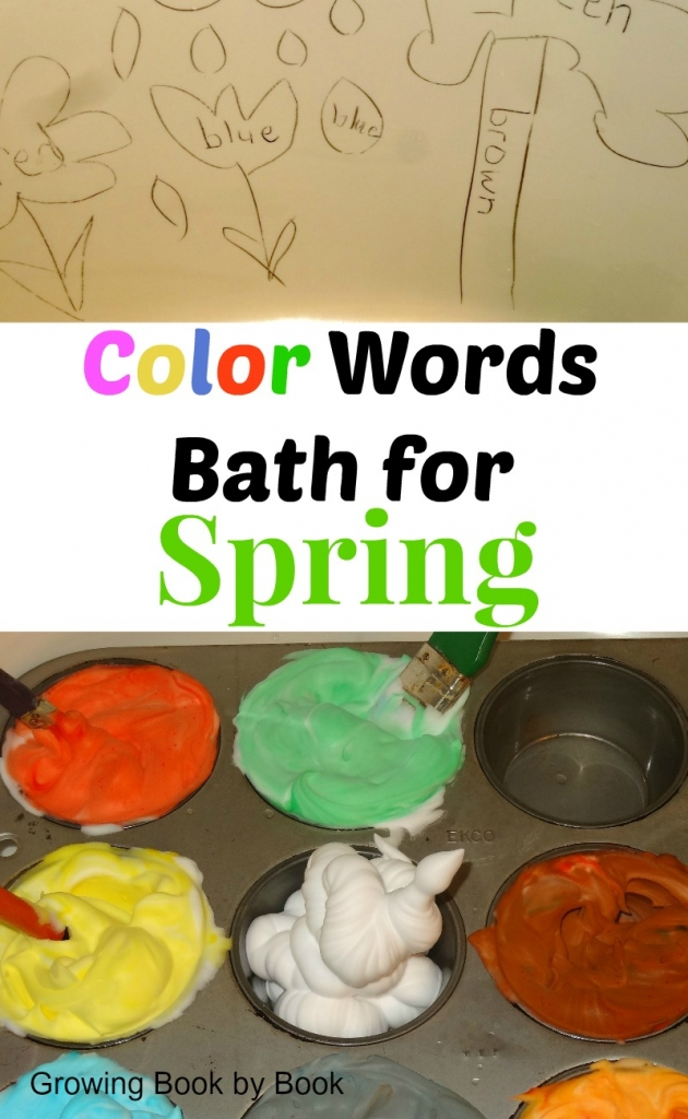 Color words bath to compliment the book, Hopper Hunts for Spring from growingbookbybook.com