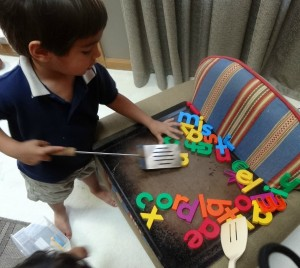 magnetic alphabet game: letter cookies