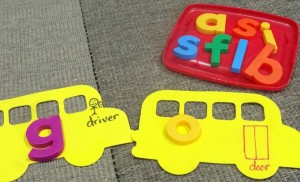 magnetic alphabet game- school bus letter pick up