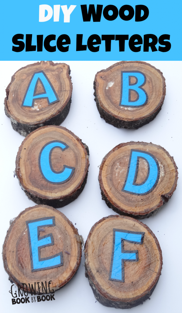 Learning the alphabet with DIY wood slice alphabet blocks from growingbookbybook.com