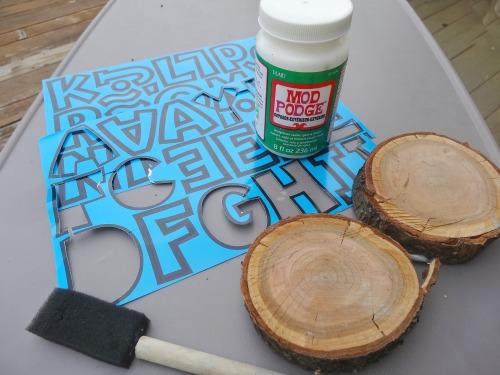 materials needed to create ABC wood slice blocks