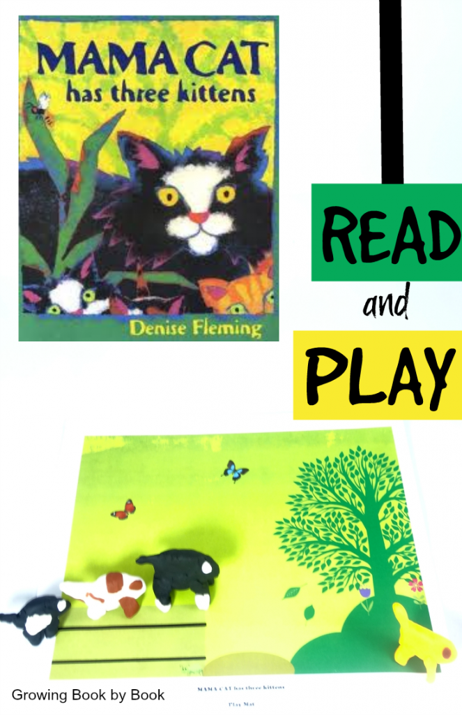 Mama Cat Has Three Kittens FREE printable playdough mat for retelling and vocabulary bulding from growingbookbybook.com