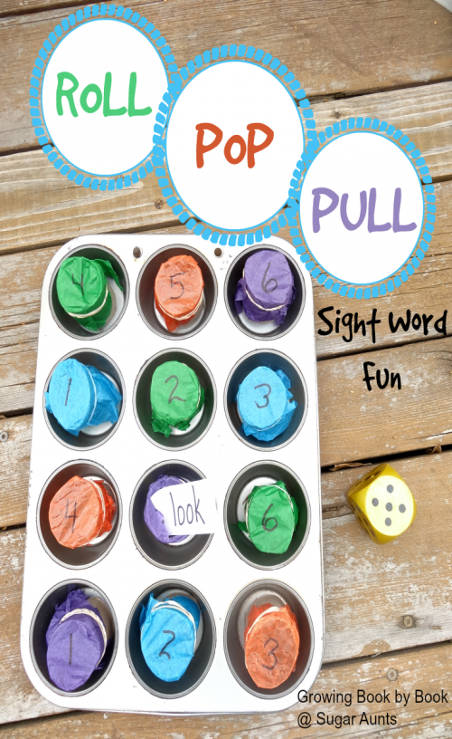 Roll Pop and Pull Sight Word Game