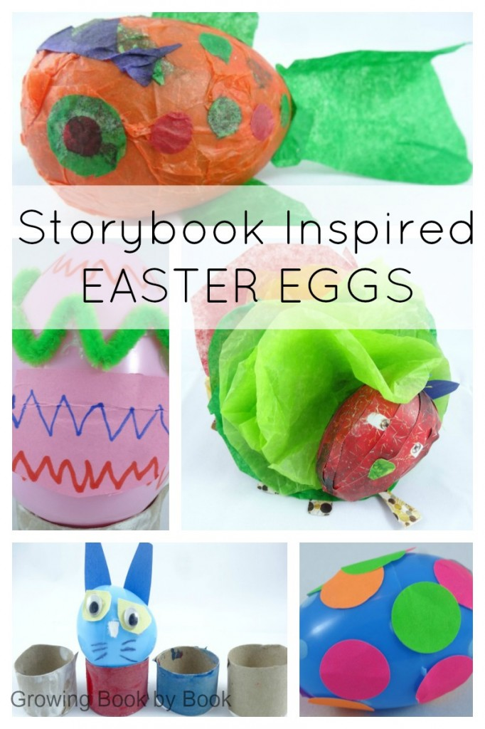 Easter eggs created from inspiration from children's books from growingbookbybook.com