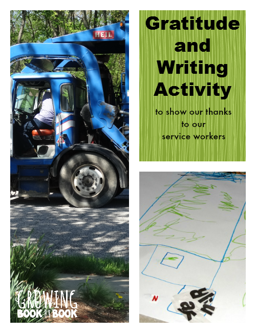 Gratitude and Writing Activity for Kids to show our thanks to our service workers from growingbookbybook.com