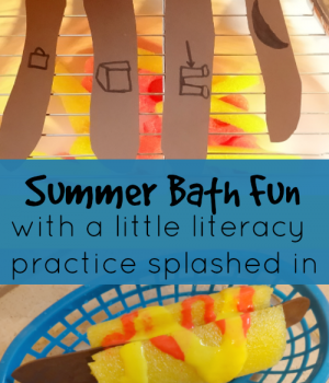 Summer fun activities include bathtime with this beginning and ending sound hotdog practice cookout from growingbookbybook.com