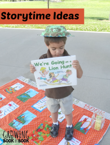 Storytime ideas for We're Going a Lion Hunt from growingbookbybook.com