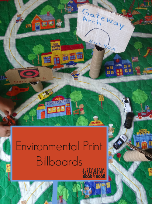 Environmental Print Billboards for car and truck play from growingbookbybook.com