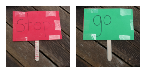 sight word signs to play red light green light