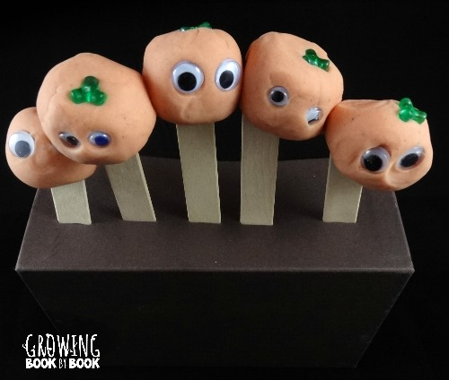 pumpkin playdough pieces to use with Five Little Pumpkins