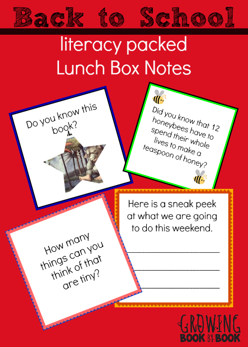 lunch box notes great for putting in those back to school lunches from growingbookbybook.com