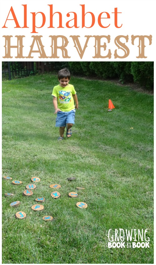 Alphabet Activities:  Letter Harvest is a fun gross motor game to build letter recognition and letter sounds from growingbookbybook.com #playfulpreschool