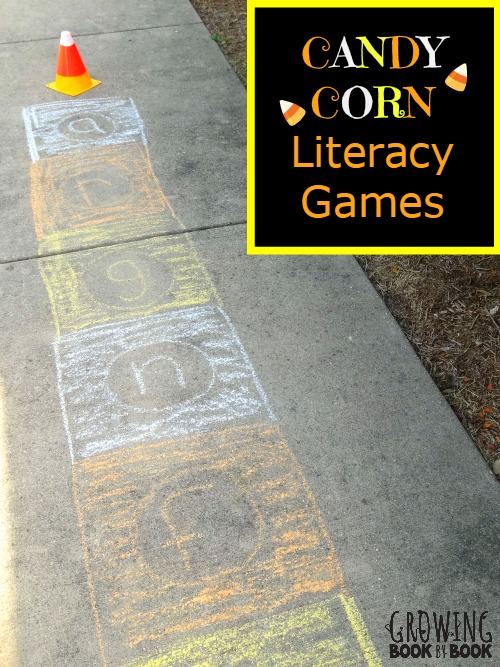 Indoor and outdoor literacy games inspired by candy corn from growingbookbybook.com