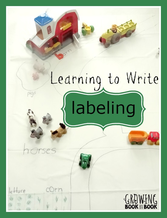 Learning to Write: 4 Strategies to Teach Labeling  from growingbookbybook.com  #playfulpreschool #learningtowrite