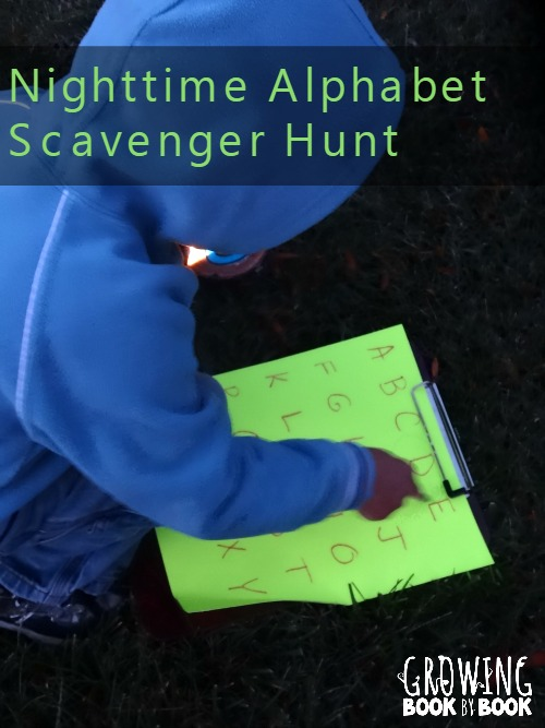 An fun nighttime scavenger hunt for kids from growingbookbyook.com