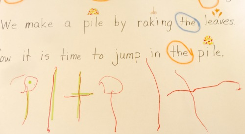 "using chart paper to help kids write ""big"" from growingbookbybook.com"