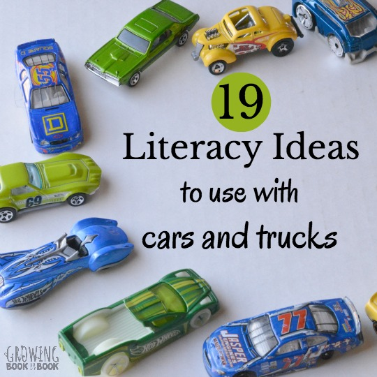 19 fun and playful literacy ideas to use with your child's car and truck pretend play.