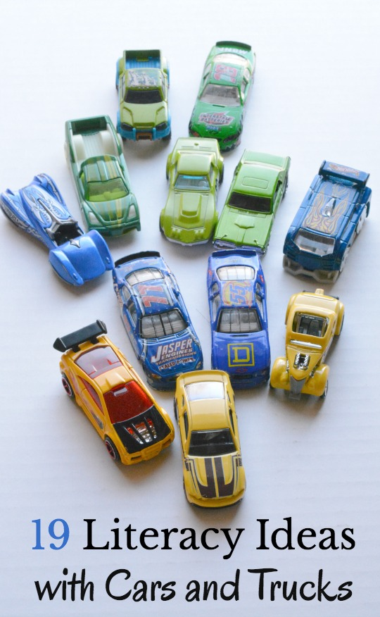 19 creative literacy ideas to with your child's pretend play using cars and trucks.