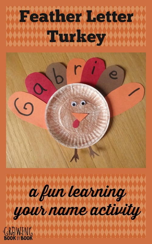 A fun Thanksgiving themed craft to practice learning your name from growingbookbybook.com