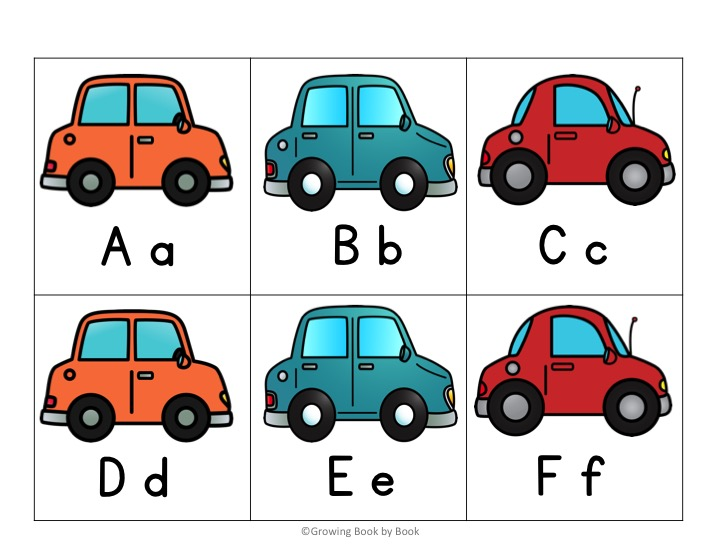printable alphabet cards with a car theme