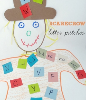 alphabet games and activities: fun scarecrow letter patch activity from growingbookbybook.com