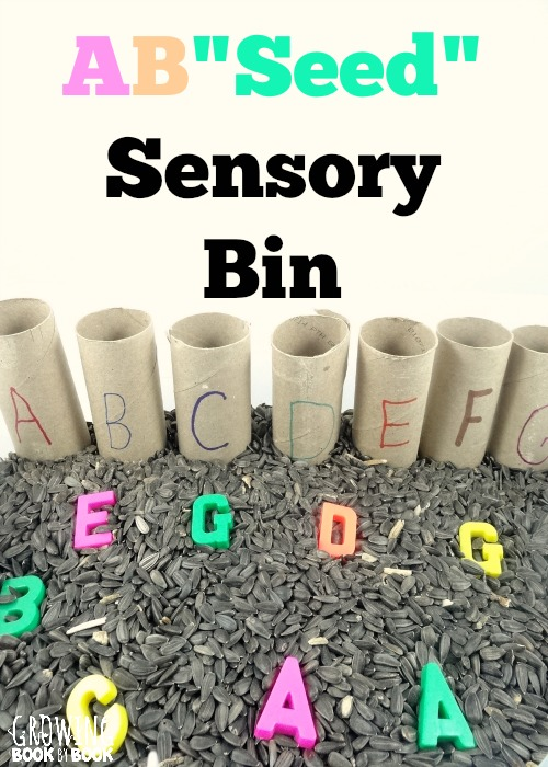 Alphabet activities to work on letter recognition with a sensory bin experience from growingbookbybook.com