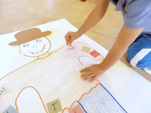 playing scarecrow alphabet games and activities