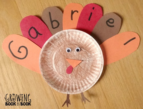 learning your name feather turkey activity from growingbookbybook.com