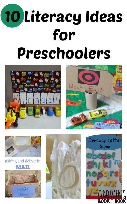 Fun and playful literacy ideas for preschoolers to work on reading and writing skills from growingbookbybook.com