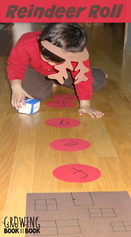 alphabet activities: reindeer roll game is a wonderful game to work on gross motor skill and letter recognition with a holiday twist from growingbookbybook.com