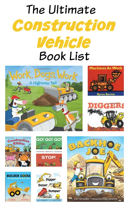 a big list of construction vehicle themed books for kids from growingbookbybook.com