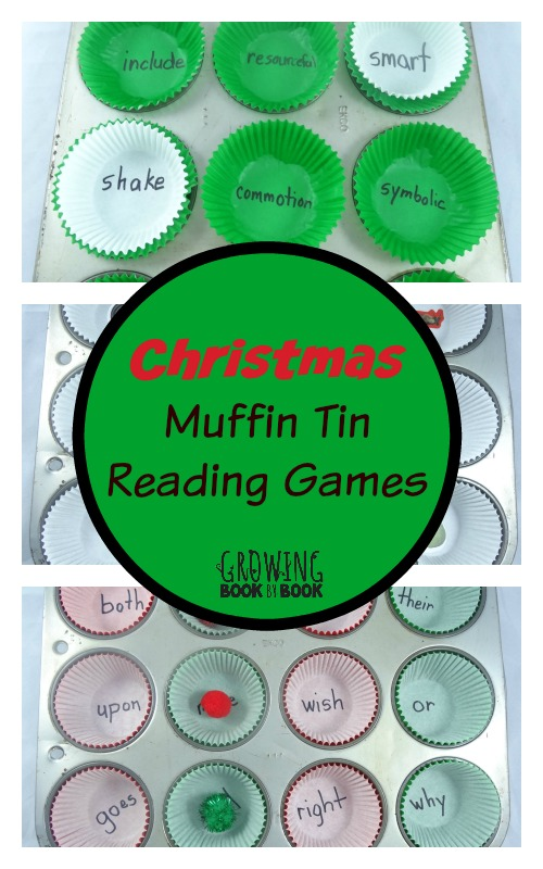 Muffin tin reading games with a Christmas theme from growingbookbybook.com